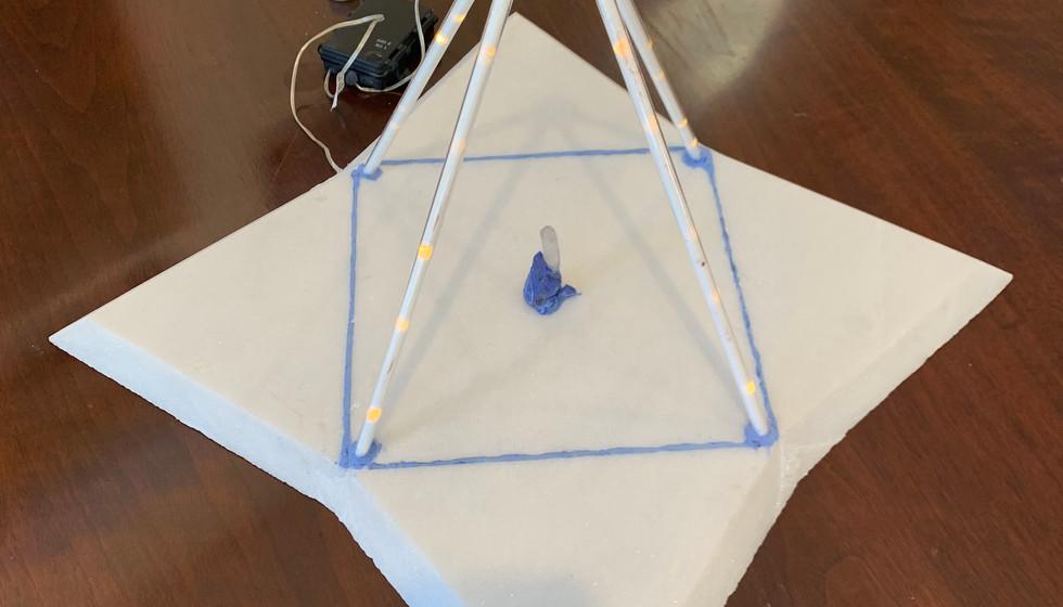Quartz & Lapis Grid Pyramid