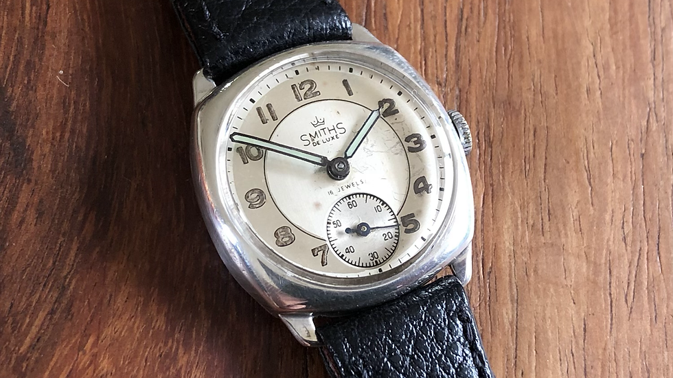 Smiths Deluxe 1961 Silver Cushion ICI presentation watch