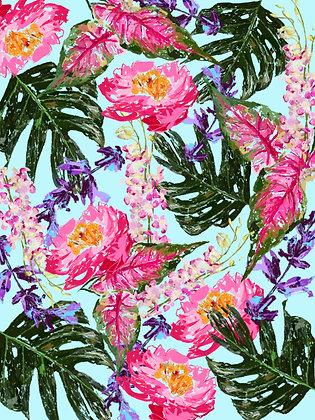 Blue Tropical Painterly Print