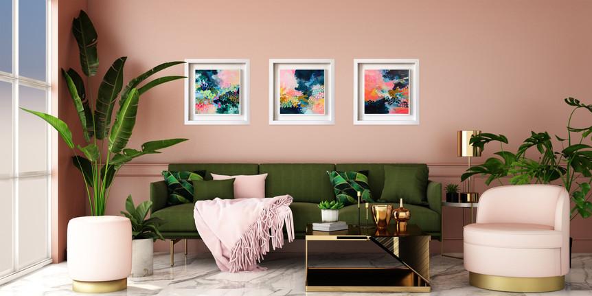 Triplet of Small Dreamer Paintings