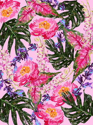 Pink Tropical Painterly Print