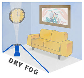 A fog head distributing sterilant to eradicate mould. The most effective way of keeping mould out of the home