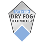 A badge stating Pure Maintenance UK's dry fog technology is patented