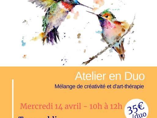 Prochain Atelier en Duo le 14 avril 2021