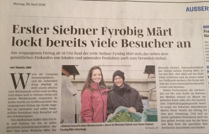 """""""Erster Siebner Fyrobig Märt lockt bereits viele Besucher an."""" March Anzeiger, 29. April 2019"""