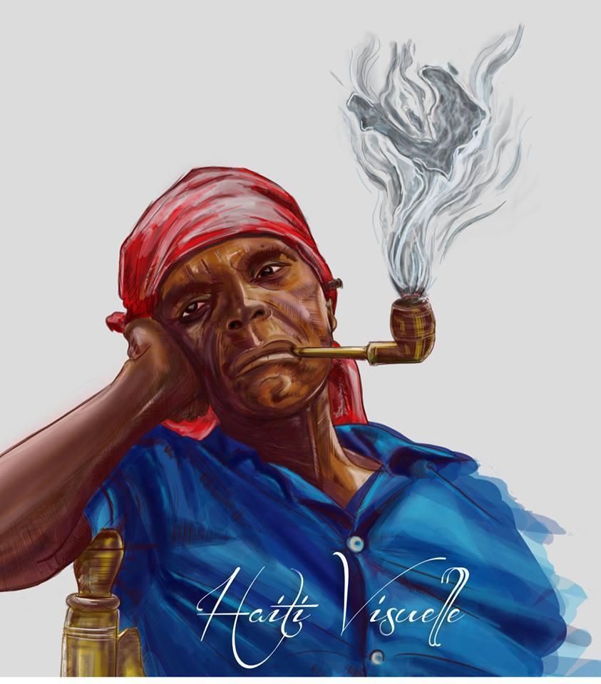 Haiti Visuelle Art of A Woman With A Pipe By Yvon Augustin.jpg
