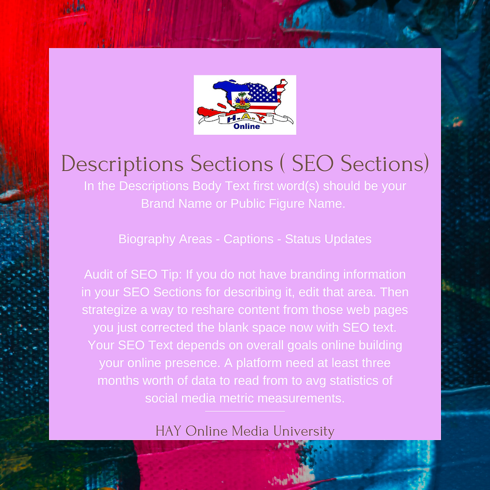 SEO You Need To Know - Description Is A SEO Section