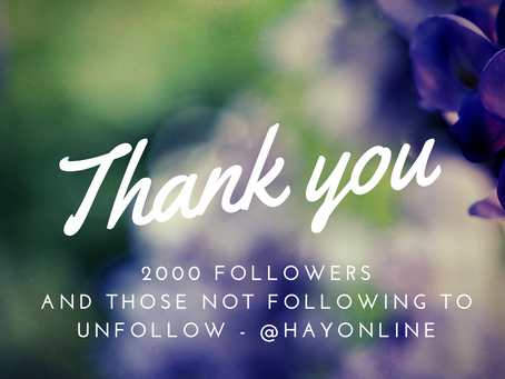 Thank You | HAY Online Instagram Is At 2000 and Counting | HAY Online News