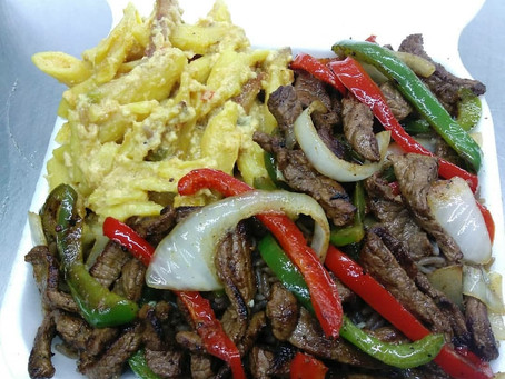HAY Online Market: RemiMa's Kitchen Steak, Peppers, Onions, and Haitian Macaroni