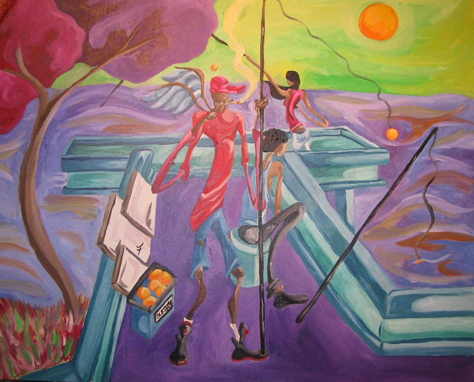 The Beautiful Struggle - Fishin at Currie Park Oil on Canvas Panel by JaFleu.jpg