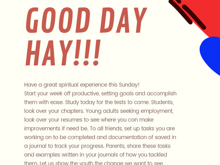 HAY Online Sundays | Good Day HAY!!! | Messages