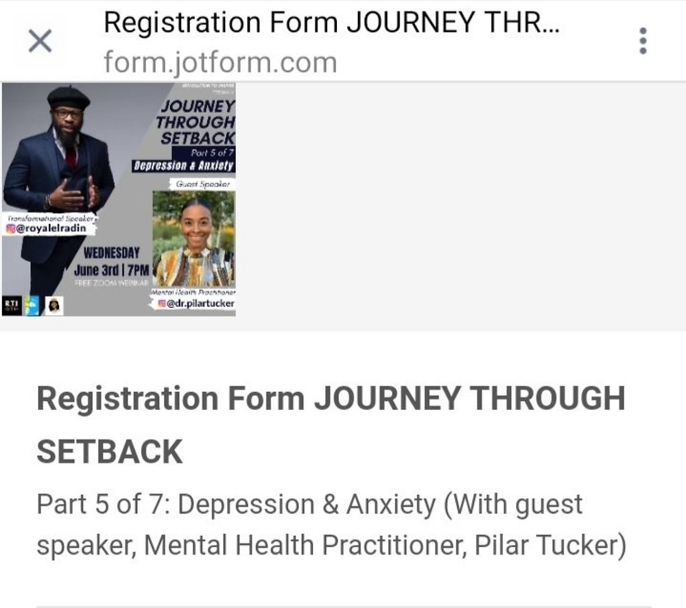 Registration Form JOURNEY THROUGH SETBACK Part 5 of 7 Depression & Anxiety