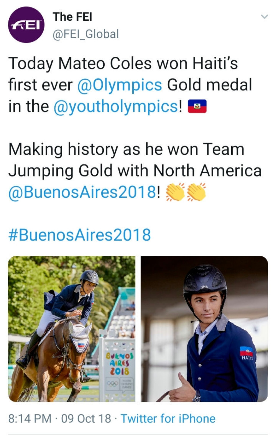 Mateo Phillippe Coles Wins 2018 Youth Olympics Gold Medal in Equestrian Sports