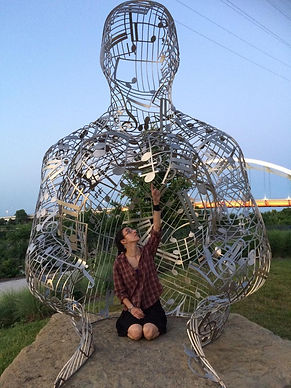 Kelsey checking out a public art installation in downtown Nashvill, T