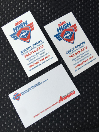 Aim High HVAC business cards