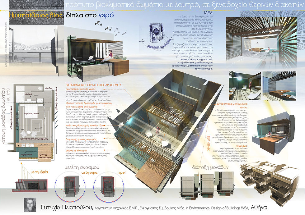 idea, Bioclimatic hotel room, Ecotone Architecture