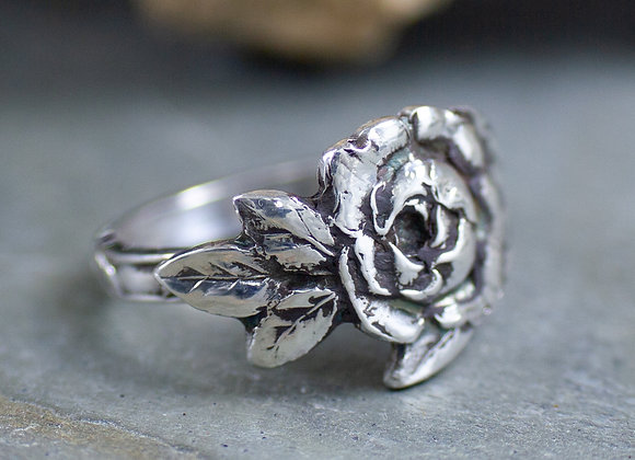 Little Rose Sterling Silver Ring, crafted from an antique tea spoon