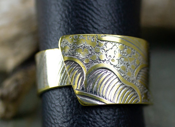 Unique silver band ring, avant-garde ring, eco-friendly ring