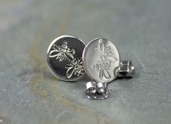 Bees, bee jewellery, bee earrings, bee studs, honey bees, pollinaters, silver be