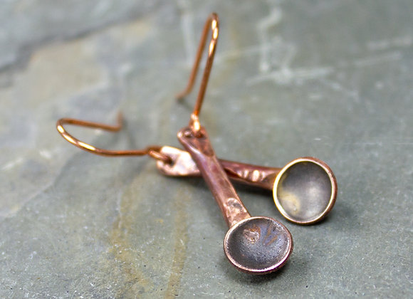 Adorable Tiny Spoon Dangle Earrings, made from vintage silver