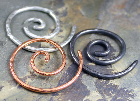 Spiral-Knit Round Pin, hand hammered, knitting pins, stitch keepers