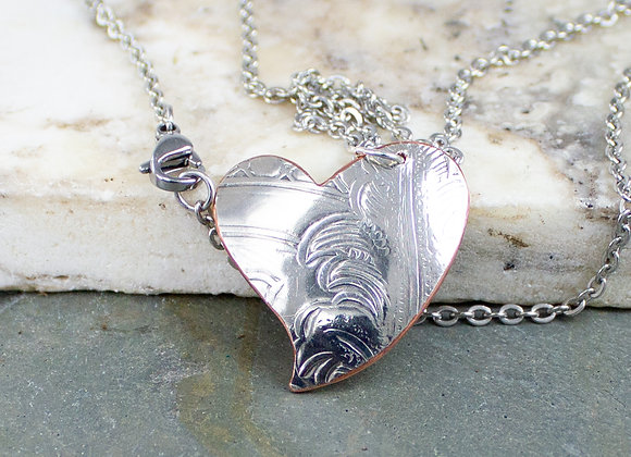 Love necklaces, stainless steel chain, heart necklaces, hearts