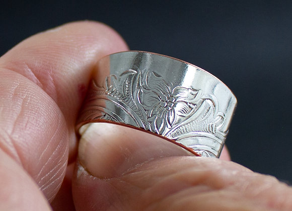 Silver tray ring, eco-friendly ring