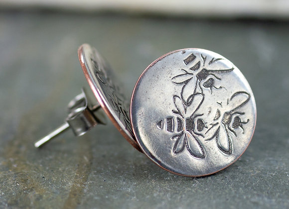Bee jewellery, bee earrings, bee studs, honey bees, pollinators, silver