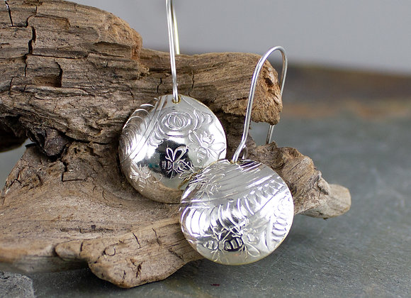 Bee earrings, silver bee earrings, honey bees, pollinators earrings
