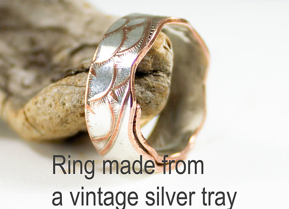 Silver ring handmade from an old tray
