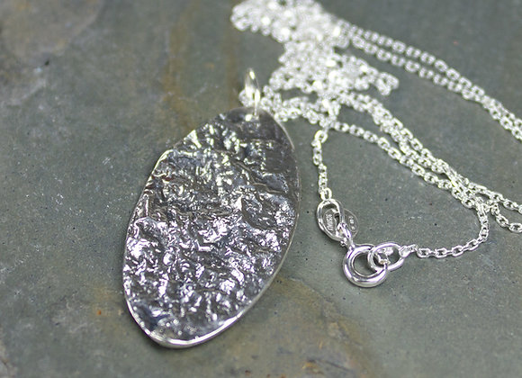 Landed on the Moon, Reticulated Sterling Silver Pendant