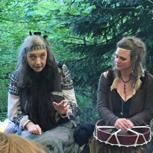 'La Loba Enchanting the Wild', with Bone Song in The Glade, Dartington (photo: Katie Whitehouse)