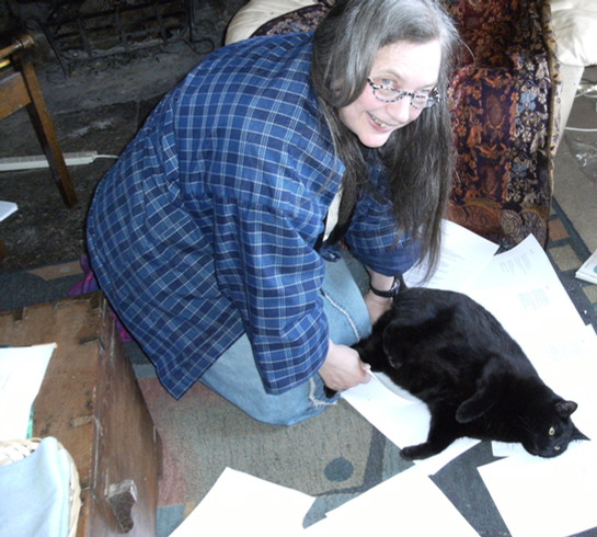 Editing poems with poetry guardian, Machka(photo: Simon Williams)