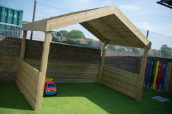 Wooden Shelter with Artificial Grass