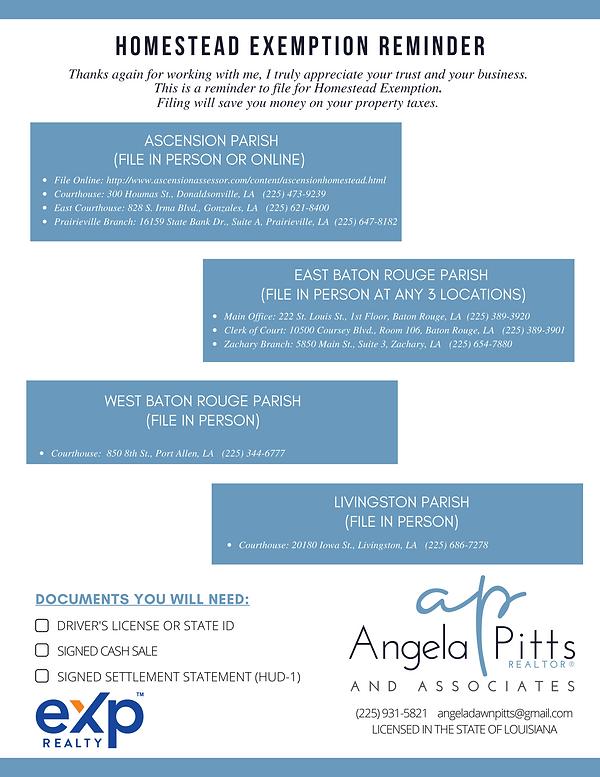Homestead Exemption Reminder - Angela Pi