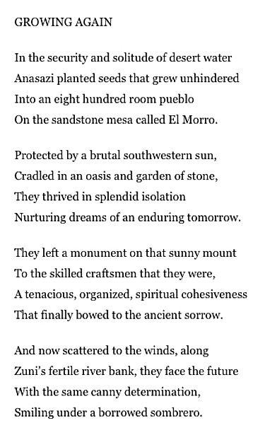 Growing Again poem from Gregg Valenzuela's book Transcendental Desert Meditations