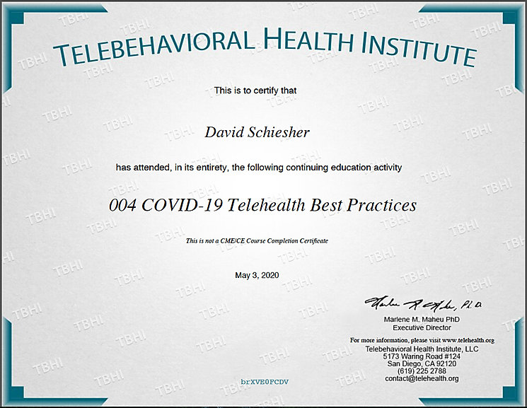 Telehealth Best Practices course completion certificate