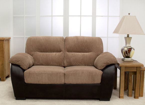 Two-seater fabric sofa