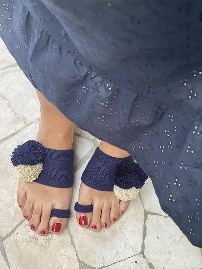 Ciabattine crochet pompon blu beige