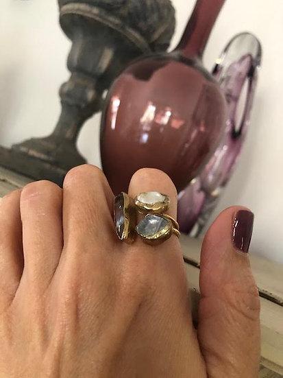 anello bronzo quarzite e madreperla