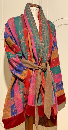 Maxi cardigan multicolore lana con cintura