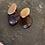 Thumbnail: Orecchini artigianali vetro malva e ottone