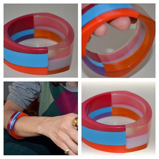 bracciale in resina multicolore