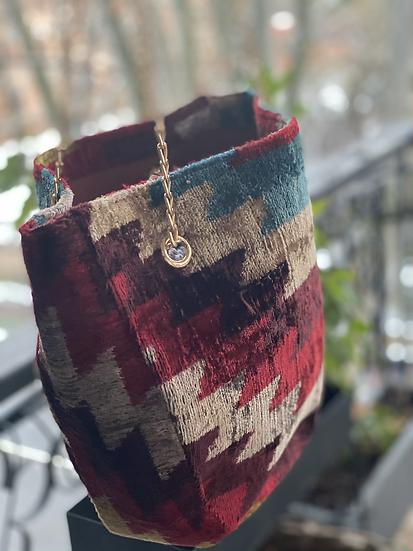 Borsecchiello velluto rosso multicolore