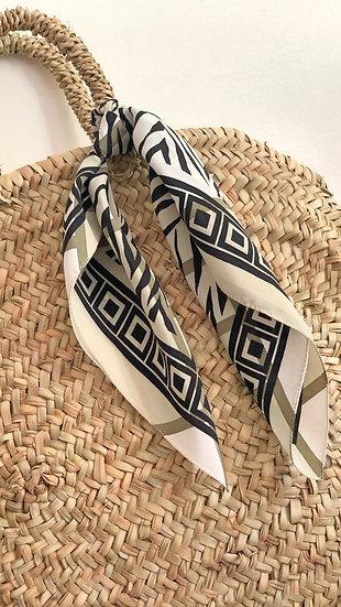 Borsa panier paglia grande con foulard seta
