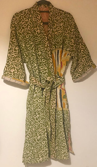 Kimono leggermente trapuntato verde lime