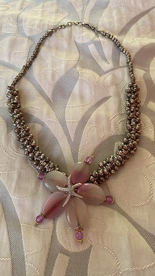 Collana argento ciondolo rosa e stella marina