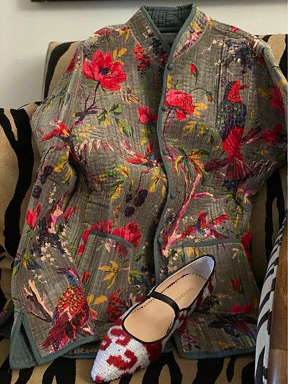 Giacchino grigio-tortora fiori magenta