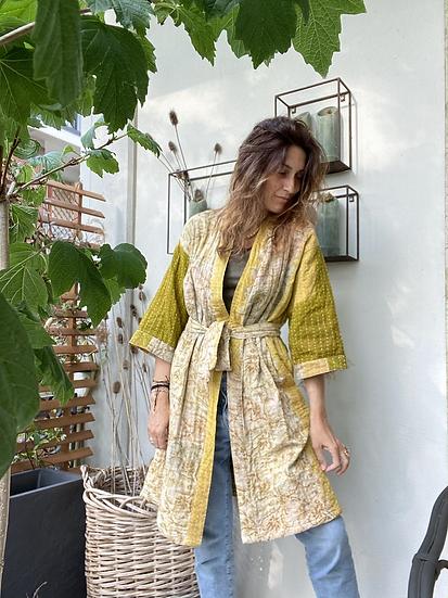 Kimono cotone leggermente trapuntato ocra