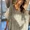 Thumbnail: Caftano abito cotone fantasia bianco grigio scuro